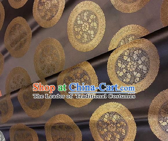 Chinese Traditional Fabric Palace Pattern Design Brown Brocade Chinese Mongolian Robe Fabric Asian Material