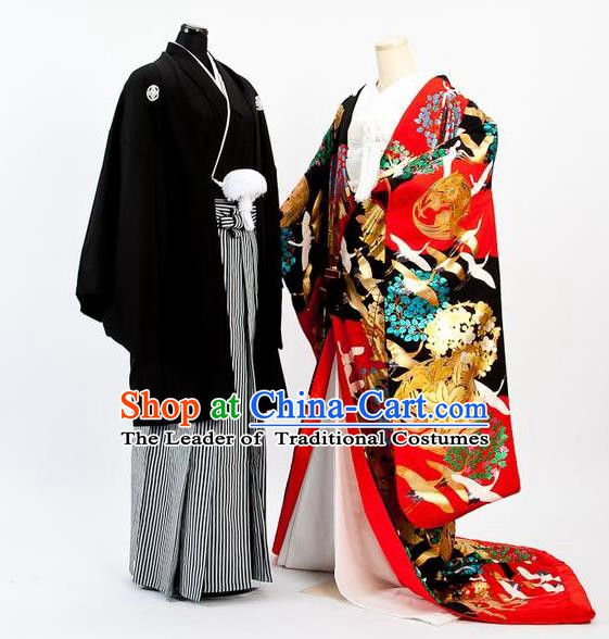 Traditional Japanese Wedding Red Costumes Bride and Bridegroom Kimono Clothing for Women for Men