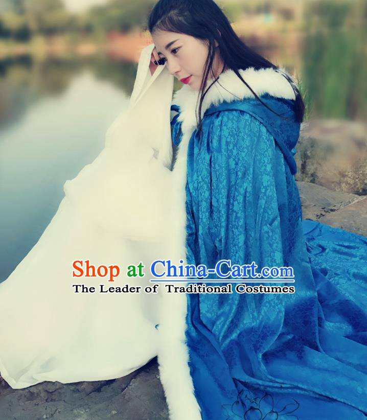 Chinese Ancient Ming Dynasty Princess Costume Blue Long Cloak for Women