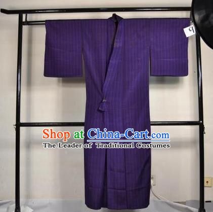Japanese Traditional Male Kimono Clothing Purple Satin Haori Kimonos Yukata Robe for Men