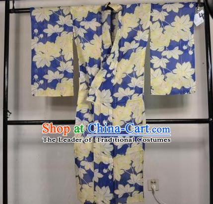 Japanese Traditional Male Kimono Clothing Maple Leaf Haori Kimonos Yukata Robe for Men