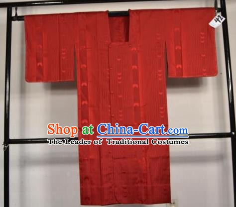 Japanese Traditional Male Kimono Clothing Red Haori Kimonos Yukata Robe for Men