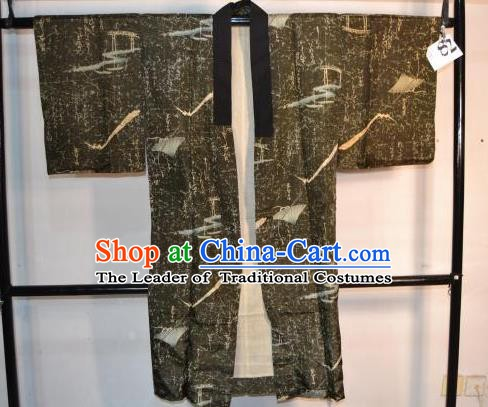 Japanese Traditional Male Kimono Clothing Japan Samurai Grey Haori Kimonos Yukata Robe for Men