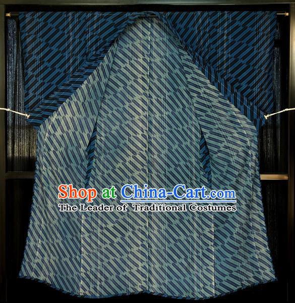Japanese Traditional Kimono Male Costume Navy Yukata Robe Japan Haori Apparel Clothing for Men