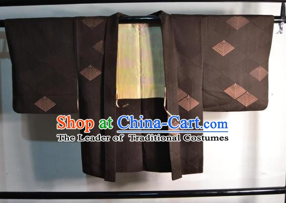 Japanese Traditional Kimono Upper Outer Garment Japan Brown Haori Apparel Yukata Costume for Men
