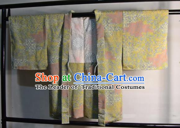 Japanese Traditional Kimono Upper Outer Garment Japan Green Haori Apparel Yukata Costume for Men
