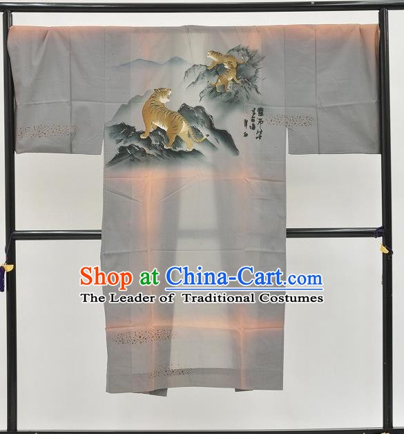 Japanese Traditional Kimono Japan Haori Apparel Printing Tigers Yukata Robe Costume for Men