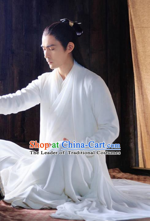 Chinese Ancient Costume Scholar Hanfu Swordsman Embroidered Clothing for Men