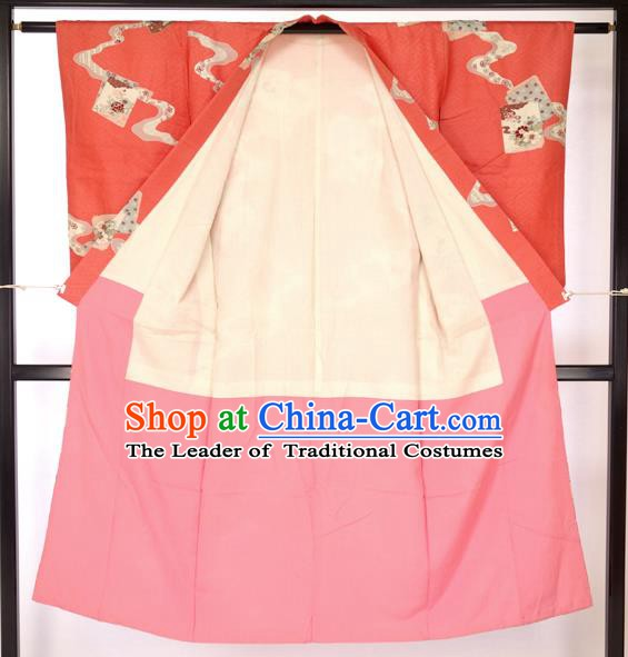 Japan Traditional Palace Red Kimono Furisode Kimonos Yukata Dress Formal Costume for Women