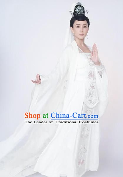 Chinese Ancient Theatre Goddess of Mercy Embroidered Costume for Women