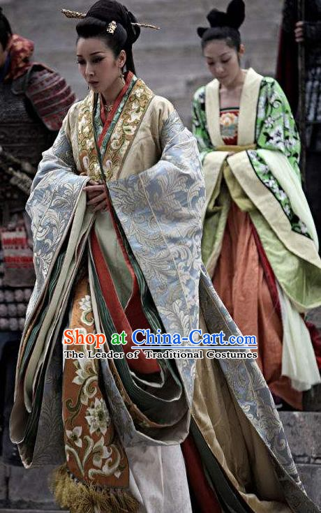 Chinese Ancient Spring and Autumn Period Theatre Princess Embroidered Costumes Complete Set for Women