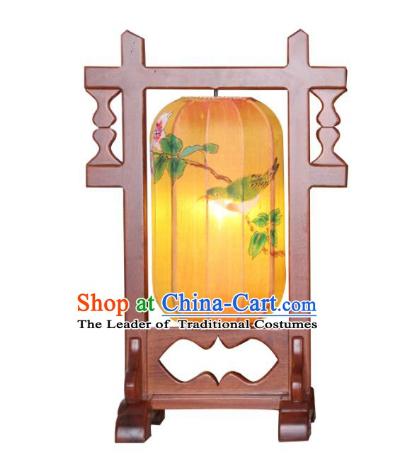 Handmade Traditional Chinese Lantern Wood Desk Lamp Hand Painting Lantern