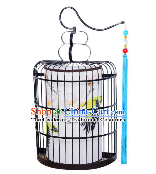 Traditional Chinese Ancient Palace Lantern Hand Painting Ceiling Lanterns Birdcage Hanging Lanern
