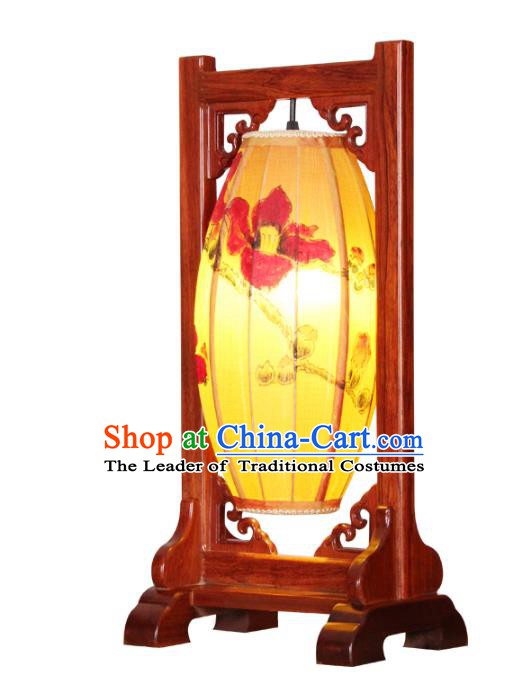 Handmade Traditional Chinese Silk Lantern Painting Desk Lamp Palace Lantern