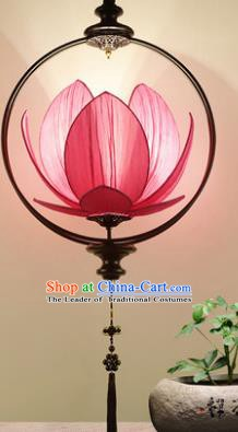 Asian China Traditional Handmade Lantern Red Lotus Ceiling Lamp Ancient Palace Lanern