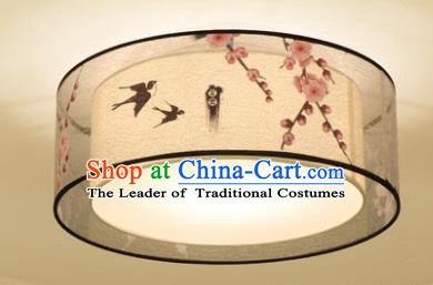 Chinese Traditional Handmade Printing Peach Blossom Round Lantern Classical Lamp Ancient Palace Ceiling Lanern
