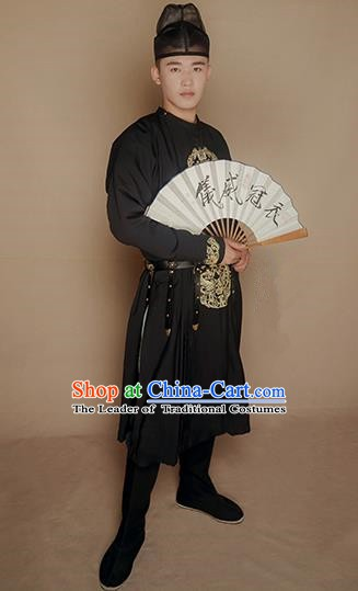 Ancient Chinese Tang Dynasty Imperial Bodyguard Swordsman Embroidered Costume for Men