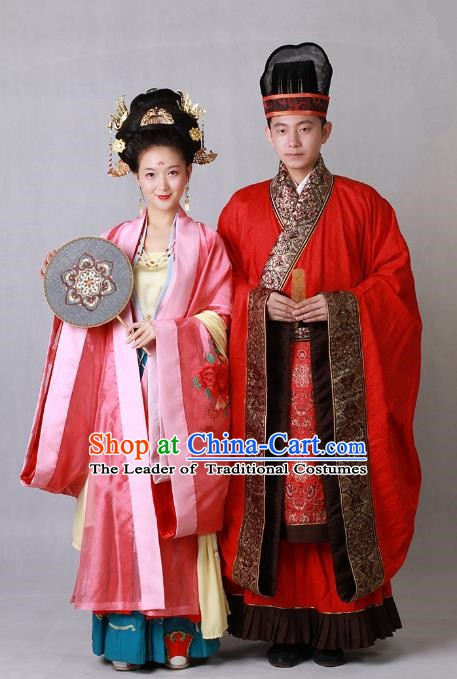 Ancient Chinese Tang Dynasty Palace Bride and Bridegroom Hanfu Embroidered Wedding Costumes Complete Set