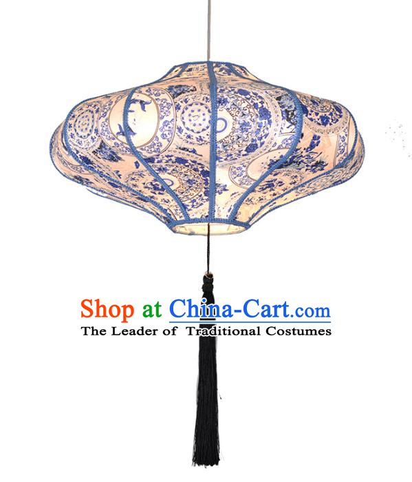 Asian China Traditional Handmade Lantern Blue and White Porcelain Lamp Ceiling Lamp Ancient Palace Lanern