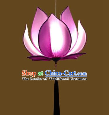 Asian China Traditional Handmade Lantern Temple Purple Lotus Lamp Ceiling Lamp Ancient Palace Lanern