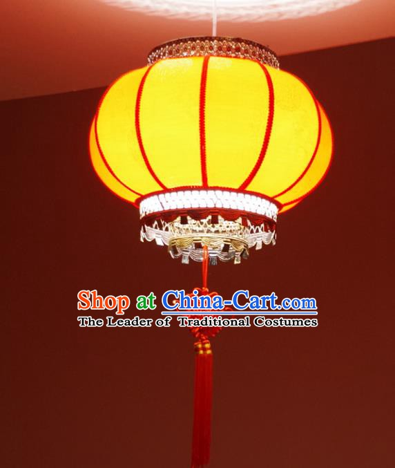 Asian China Traditional Handmade Lantern New Year Yellow Parchment Lanterns Ceiling Lamp Ancient Palace Lanern
