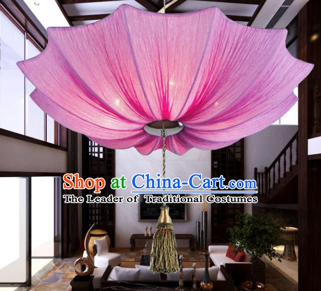 Asian China Traditional Handmade Lantern Red Lotus Umbrella Lanterns Ceiling Lamp Ancient Palace Lanern