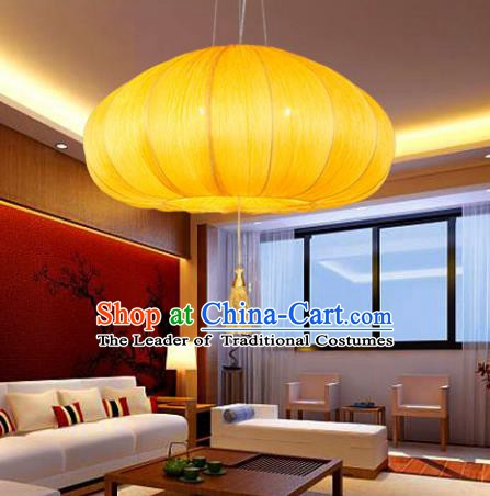 Asian China Traditional Handmade Lantern Yellow Pumpkin Lanterns Ceiling Lamp Ancient Palace Lanern