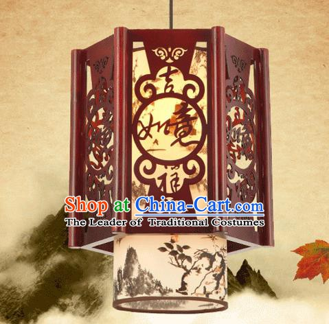 Asian China Traditional Handmade Lantern Palace Parchment Hanging Lanterns Ceiling Lamp Ancient Lanern