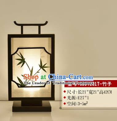 Traditional Asian Chinese Lantern China Ancient Electric Bamboo Desk Lamp Palace Lantern