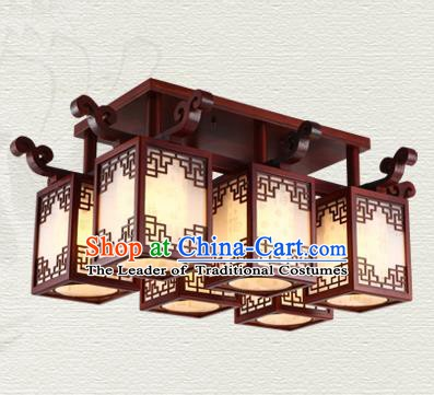 China Traditional Handmade Wood Lantern Six-pieces Palace Lanterns Ceiling Lamp Ancient Lanern