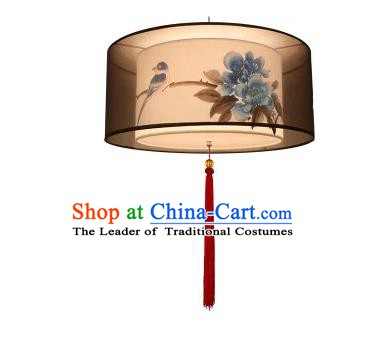 Traditional China Handmade Lantern Ancient Printing Birds Flowers Hanging Lanterns Palace Ceiling Lamp