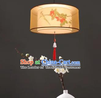 Traditional China Handmade Lantern Ancient Printing Birds Red Flowers Hanging Lanterns Palace Ceiling Lamp