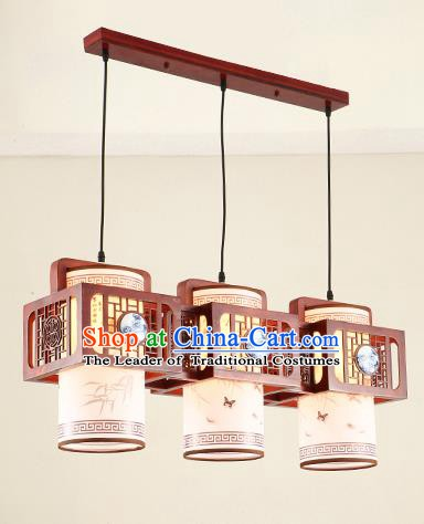 China Traditional Handmade Ancient Ceramic Three-pieces Hanging Lantern Palace Lanterns Ceiling Lamp