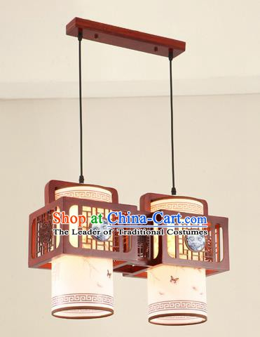 China Traditional Handmade Ancient Ceramic Two-pieces Hanging Lantern Palace Lanterns Ceiling Lamp