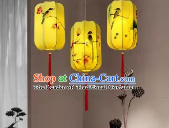 Traditional China Handmade Lantern Ancient Printing Flowers Birds Yellow Hanging Lanterns Palace Ceiling Lamp