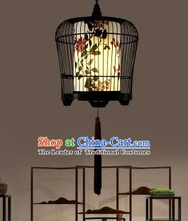 Traditional China Handmade Lantern Ancient Iron Birdcage Hanging Lanterns Palace Ceiling Lamp