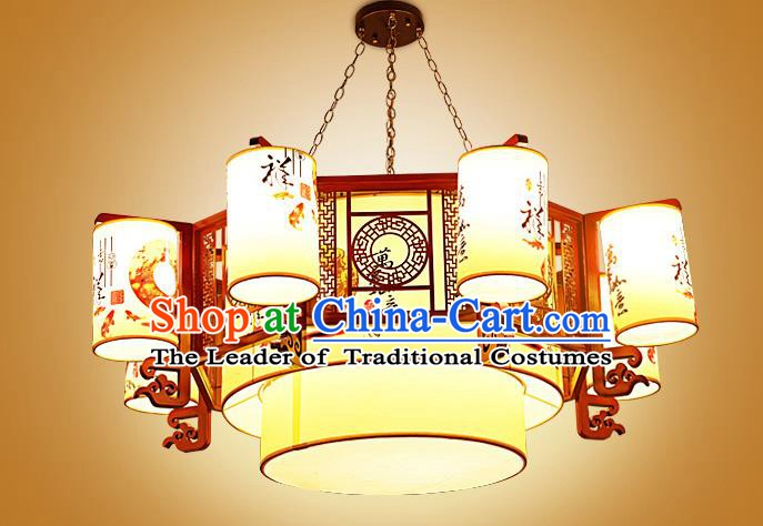 China Traditional Handmade Ancient Wood Printing Lantern Eight-pieces Palace Lanterns Ceiling Lamp