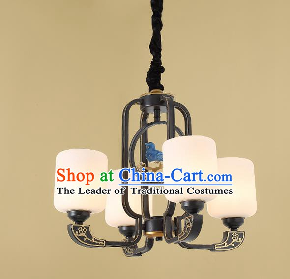 Traditional China Handmade Hanging Lantern Ancient Four-pieces Lanterns Palace Ceiling Lamp