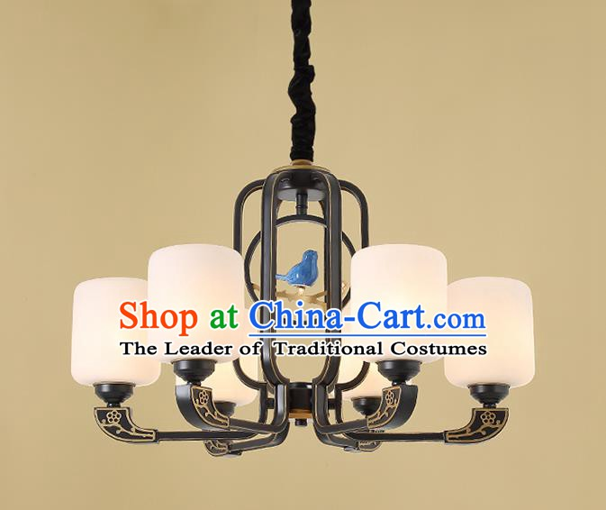Traditional China Handmade Hanging Lantern Ancient Six-pieces Lanterns Palace Ceiling Lamp