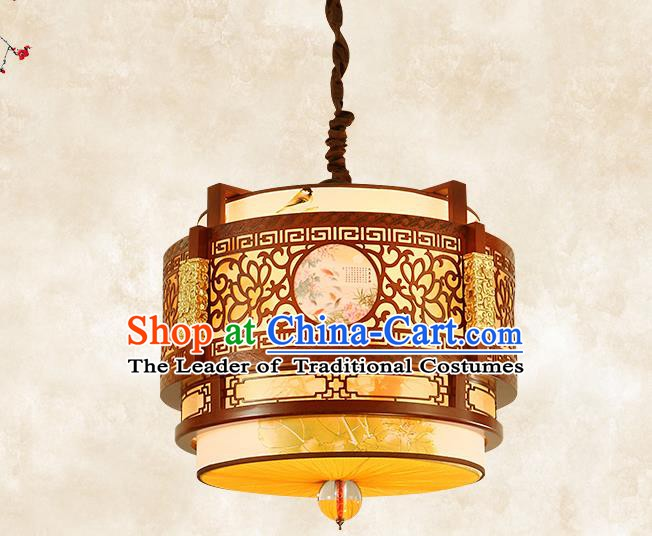 China Traditional Handmade Ancient Printing Lantern Palace Wood Hanging Lanterns Ceiling Lamp