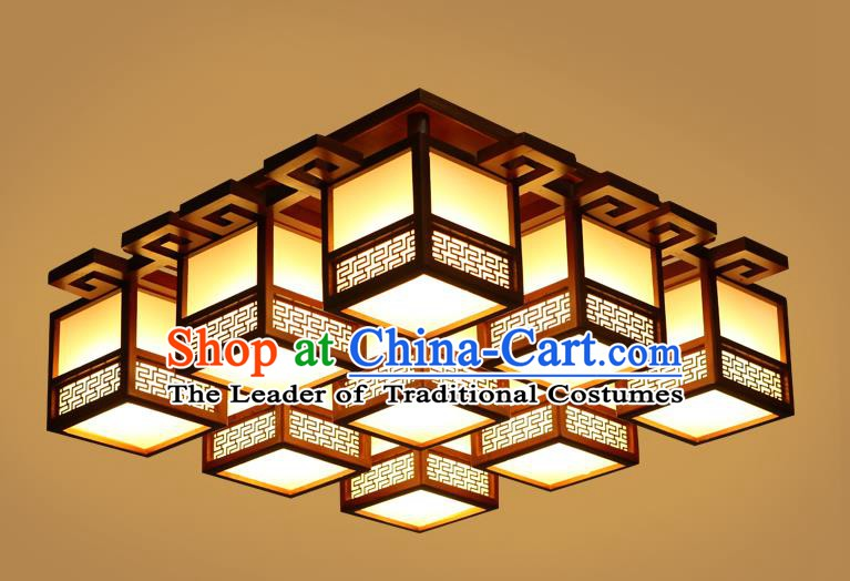 China Traditional Handmade Ancient Wood Lantern Nine-pieces Palace Lanterns Ceiling Lamp