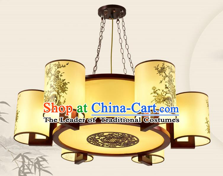 China Traditional Handmade Ancient Eight-pieces Lantern Palace Parchment Hanging Lanterns Ceiling Lamp