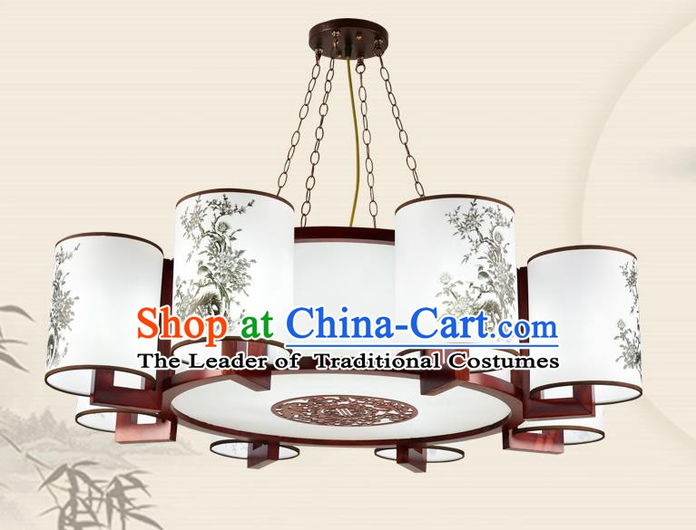 China Traditional Handmade Ancient Eight-pieces Printing Lantern Palace Parchment Hanging Lanterns Ceiling Lamp
