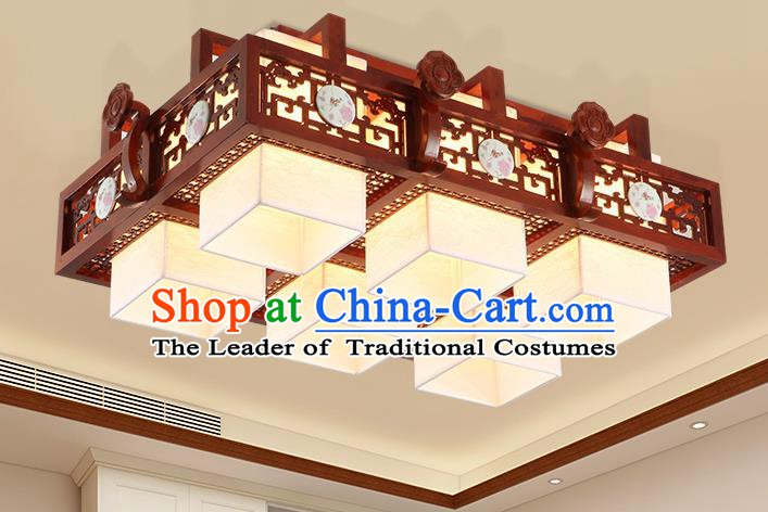 China Traditional Handmade Lantern Ancient Six-pieces Wood Lanterns Palace Ceiling Lamp