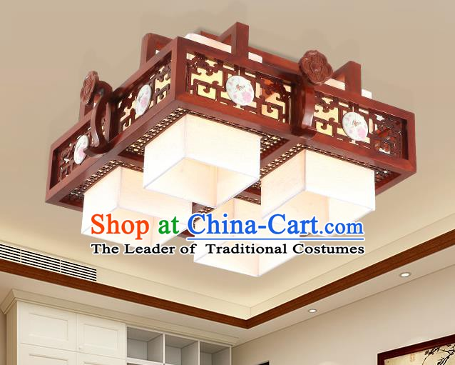 China Traditional Handmade Lantern Ancient Four-pieces Wood Lanterns Palace Ceiling Lamp