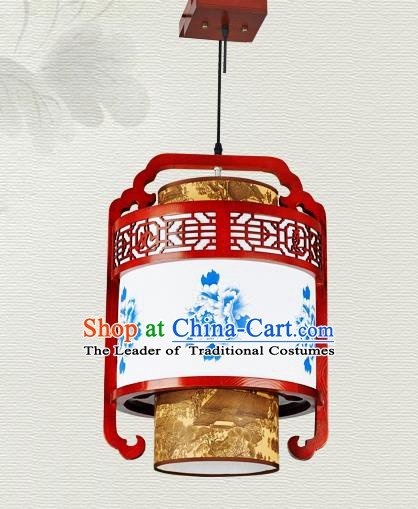 China Traditional Handmade Ancient Hanging Lantern Palace Lanterns Printing Peony Ceiling Lamp