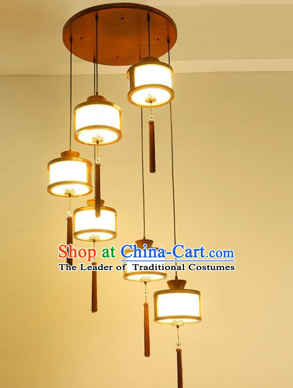 China Traditional Handmade Lantern Ancient Hanging Six-pieces Lanterns Palace Ceiling Lamp