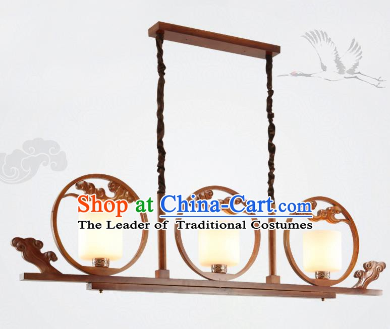 China Traditional Handmade Lantern Ancient Wood Hanging Three-pieces Lanterns Palace Ceiling Lamp