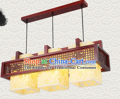 China Traditional Handmade Lantern Ancient Lanterns Palace Three-pieces Ceiling Lamp
