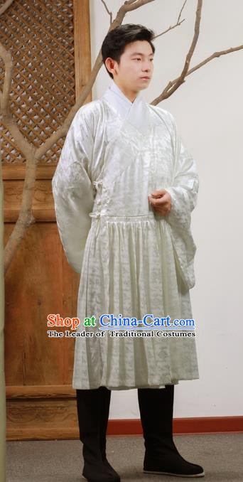 Ancient Chinese Ming Dynasty Scholar Costumes Swordsman Fly Fish Cloth for Men